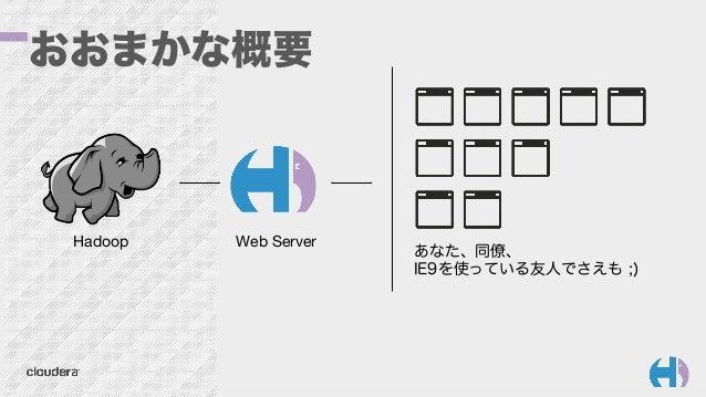 おおまかな概要 Hadoop  Web Server あなた、同僚、 IE9を使っている友人でさえも ;)