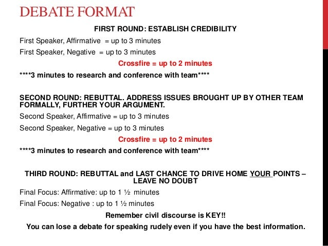 Huckabee debate notes and format 3 w rubric 2 for First speaker debate template