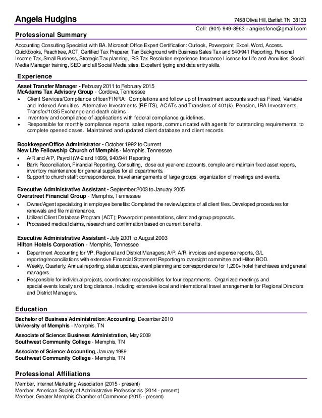 hudgins angela professional resume 2016