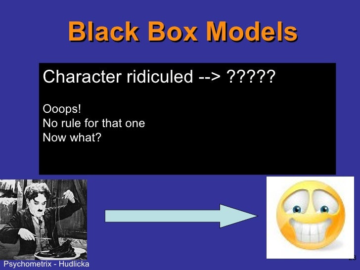 Black Box Models Directly map stimuli onto emotions: Character gains points ---> Happy Character loses points ---> Sad Cha...