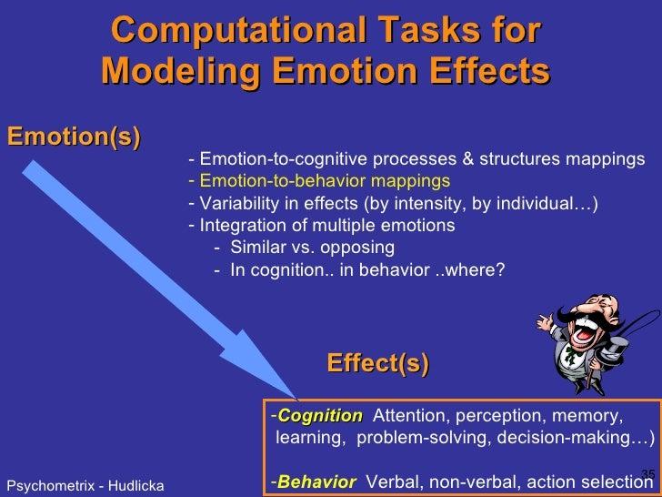 Computational Tasks for Modeling Emotion Effects Emotion(s) <ul><li>Cognition   Attention, perception, memory,  </li></ul>...