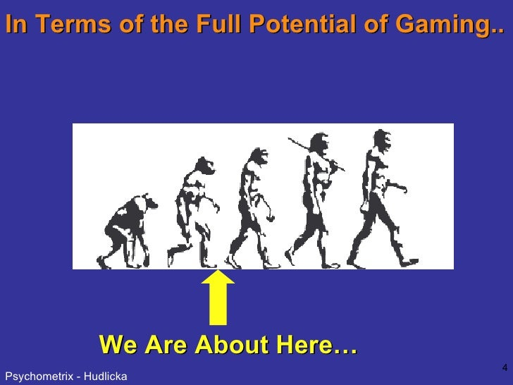 In Terms of the Full Potential of Gaming.. We Are About Here…