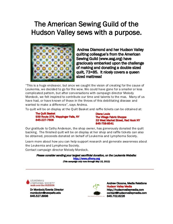The American Sewing Guild of the    Hudson Valley sews with a purpose.                                           Andrea Di...