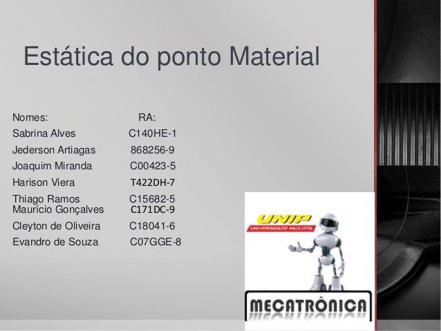 Estática do ponto Material Nomes: RA: Sabrina Alves C140HE-1 Jederson Artiagas 868256-9 Joaquim Miranda C00423-5 Harison V...