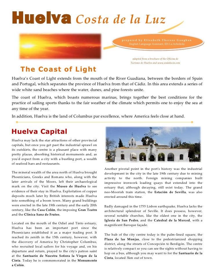 Huelva Costa de la Luz                                                                       prepare d by E lizabeth There...