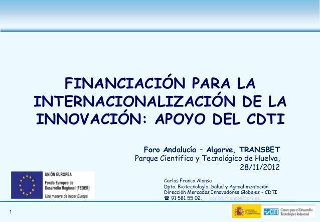 FINANCIACIÓN PARA LA    INTERNACIONALIZACIÓN DE LA    INNOVACIÓN: APOYO DEL CDTI                Foro Andalucía – Algarve, ...