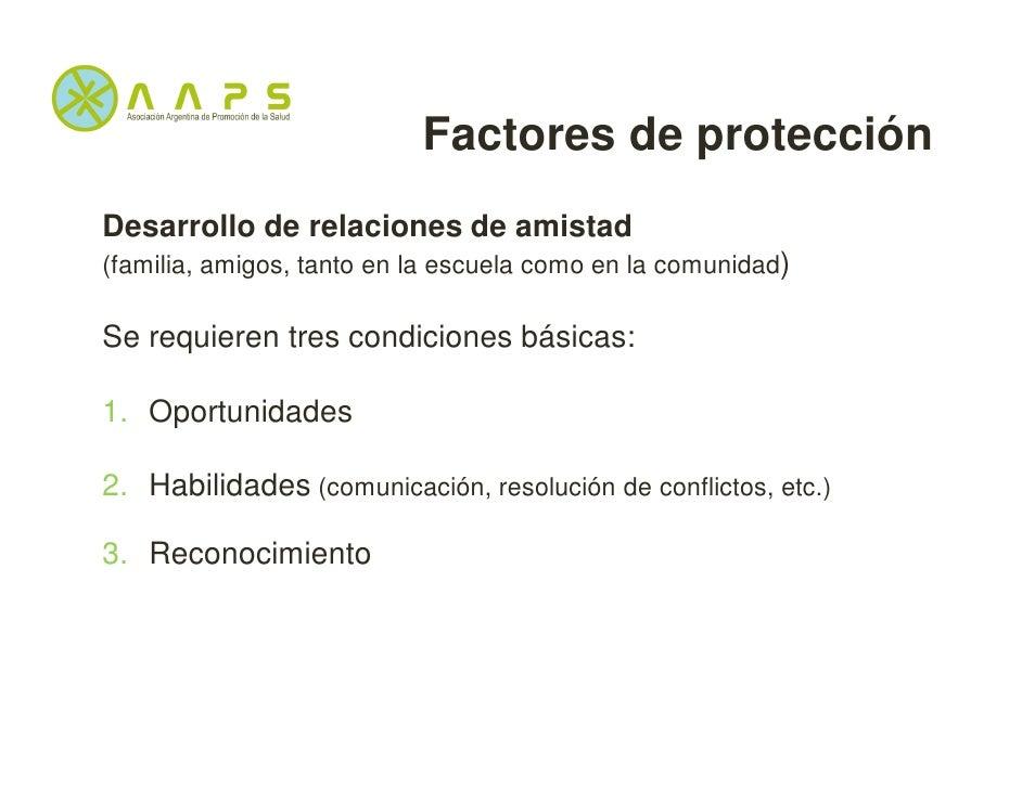 Factores de protecciónDesarrollo de relaciones de amistad(familia, amigos, tanto en la escuela como en la comunidad)Se req...