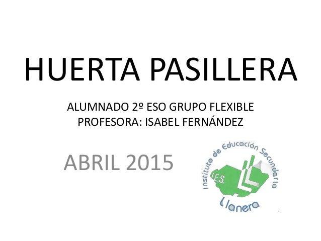 HUERTA PASILLERA ABRIL 2015 ALUMNADO 2º ESO GRUPO FLEXIBLE PROFESORA: ISABEL FERNÁNDEZ