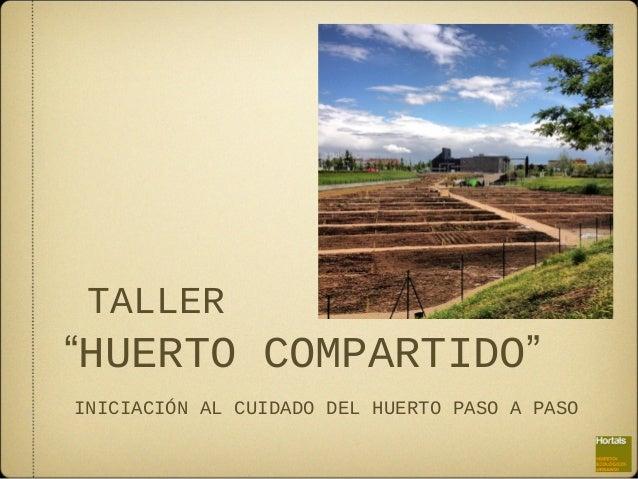 """TALLER  """"HUERTO COMPARTIDO"""" INICIACIÓN AL CUIDADO DEL HUERTO PASO A PASO"""