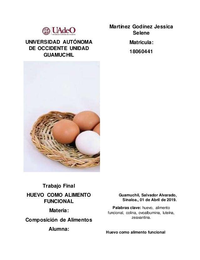 UNIVERSIDAD AUTÓNOMA DE OCCIDENTE UNIDAD GUAMUCHIL Trabajo Final HUEVO COMO ALIMENTO FUNCIONAL Materia: Composición de Ali...