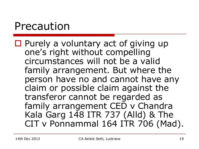 Precaution  Purely a voluntary act of giving up one's right without compelling circumstances will not be a valid family a...