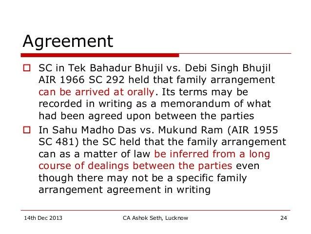 Agreement  SC in Tek Bahadur Bhujil vs. Debi Singh Bhujil AIR 1966 SC 292 held that family arrangement can be arrived at ...