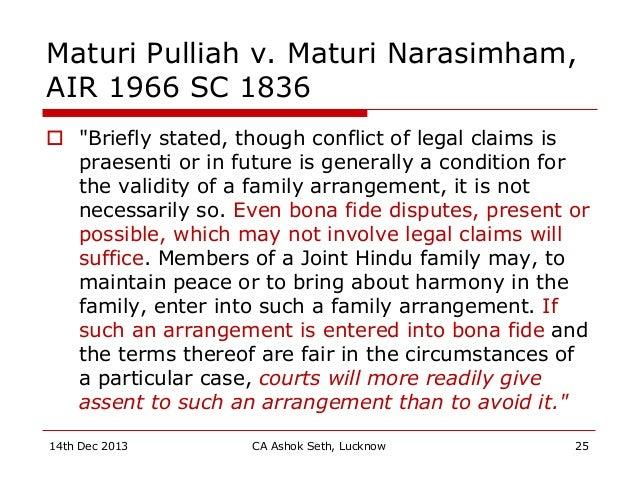 "Maturi Pulliah v. Maturi Narasimham, AIR 1966 SC 1836  ""Briefly stated, though conflict of legal claims is praesenti or i..."