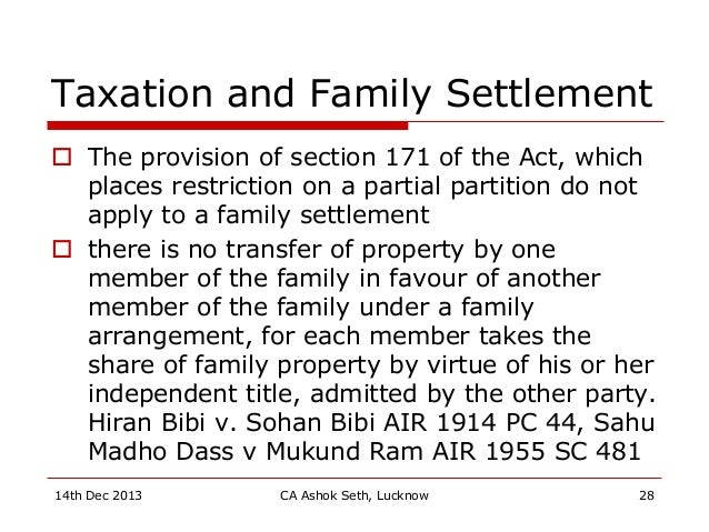 Taxation and Family Settlement  The provision of section 171 of the Act, which places restriction on a partial partition ...