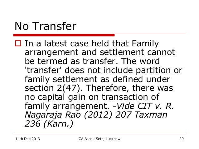 No Transfer  In a latest case held that Family arrangement and settlement cannot be termed as transfer. The word 'transfe...