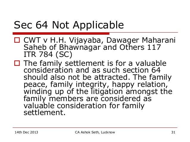 Sec 64 Not Applicable  CWT v H.H. Vijayaba, Dawager Maharani Saheb of Bhawnagar and Others 117 ITR 784 (SC)  The family ...