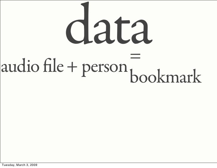 data                   = audio le + person                   bookmark    Tuesday, March 3, 2009