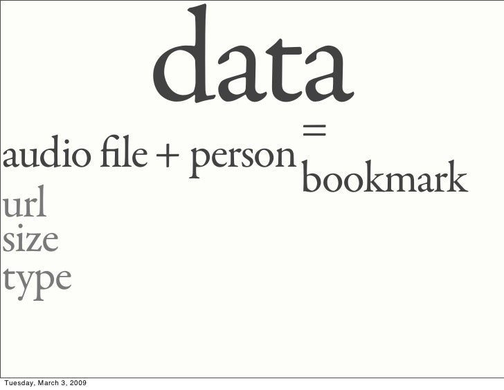 data                   = audio le + person                   bookmark url size type  Tuesday, March 3, 2009