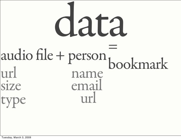 data                   = audio le + person                   bookmark url        name size       email              url ty...