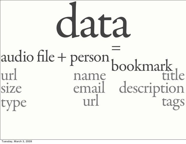 data                   = audio le + person                   bookmark url        name         title size       email descr...