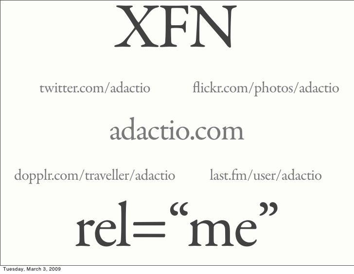 XFN              twitter.com/adactio   ickr.com/photos/adactio                            adactio.com     dopplr.com/trave...