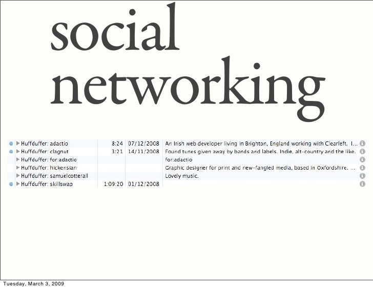 social                 networking  Tuesday, March 3, 2009