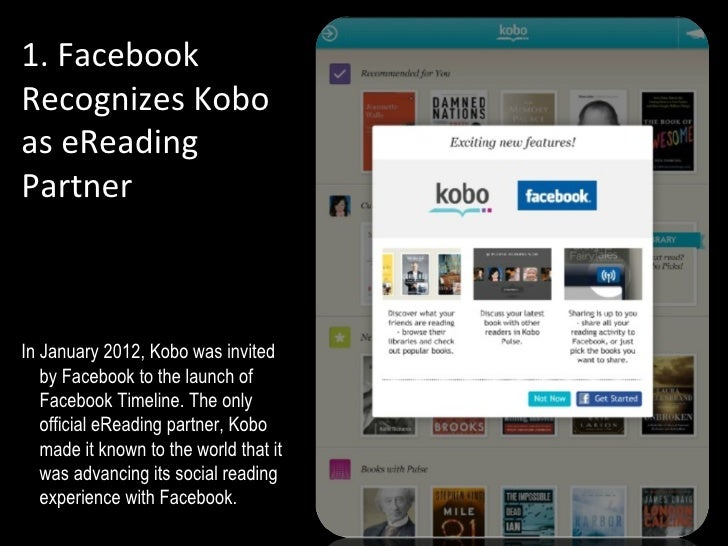 1. FacebookRecognizes Koboas eReadingPartnerAIn January 2012, Kobo was invited   by Facebook to the launch of   Facebook T...