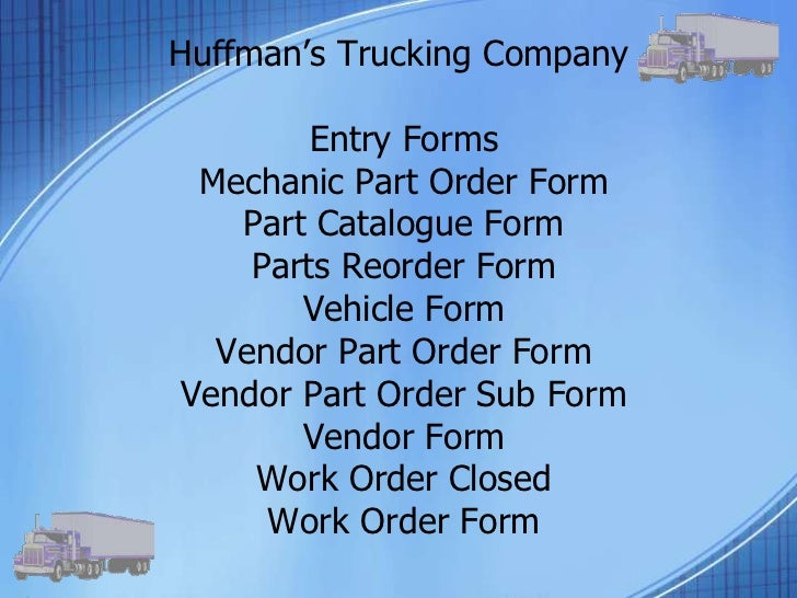 huffman trucking database essay Designa huffman trucking company database application or site that presents and explains the implementation plan the site must include all sections of the plan and related content and consist of huffman trucking companypdf&nbspmultiple web.