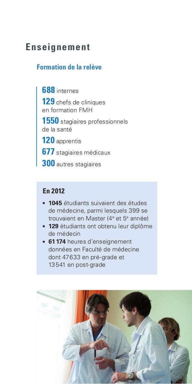 Enseignement En 2012  1045 étudiants suivaient des études  de médecine, parmi lesquels 399 se  trouvaient en Master (4e...