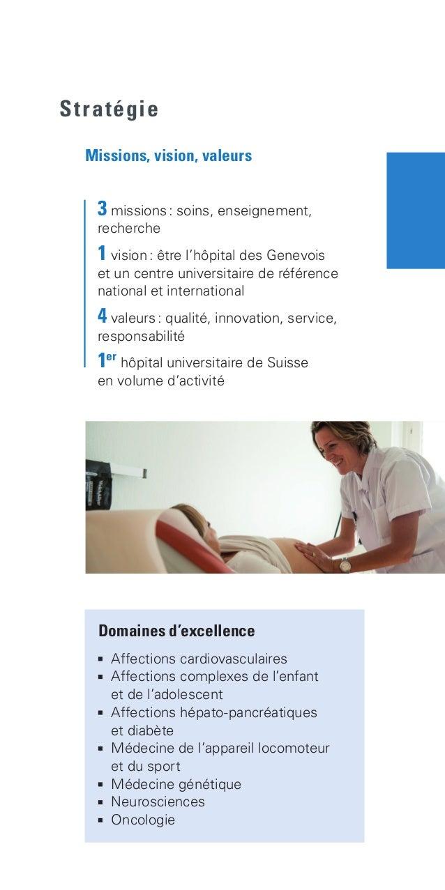 3 missions: soins, enseignement,  recherche  1 vision: être l'hôpital des Genevois  et un centre universitaire de ...