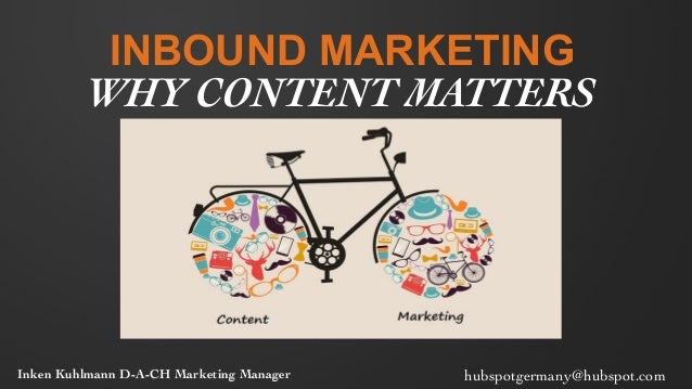 INBOUND MARKETING WHY CONTENT MATTERS	  Inken Kuhlmann D-A-CH Marketing Manager	   hubspotgermany@hubspot.com