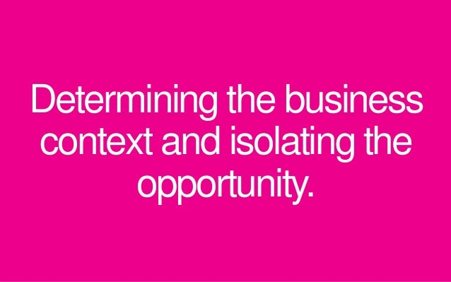 Determining the business context and isolating the opportunity.