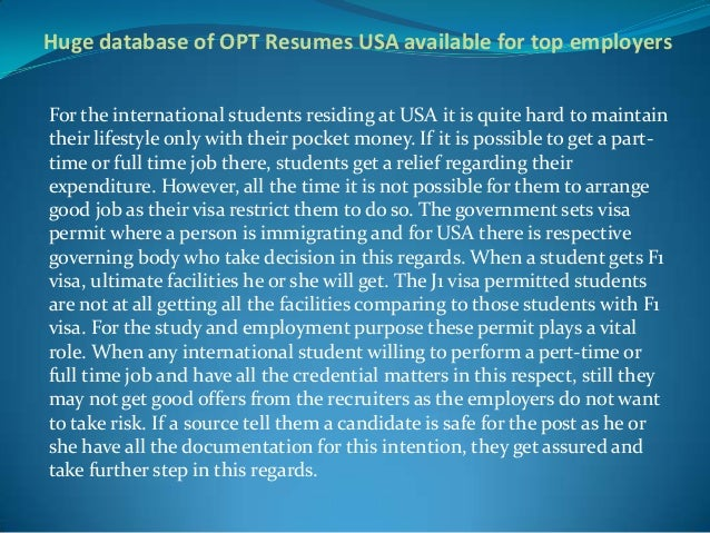 huge database of opt resumes usa available for top employers