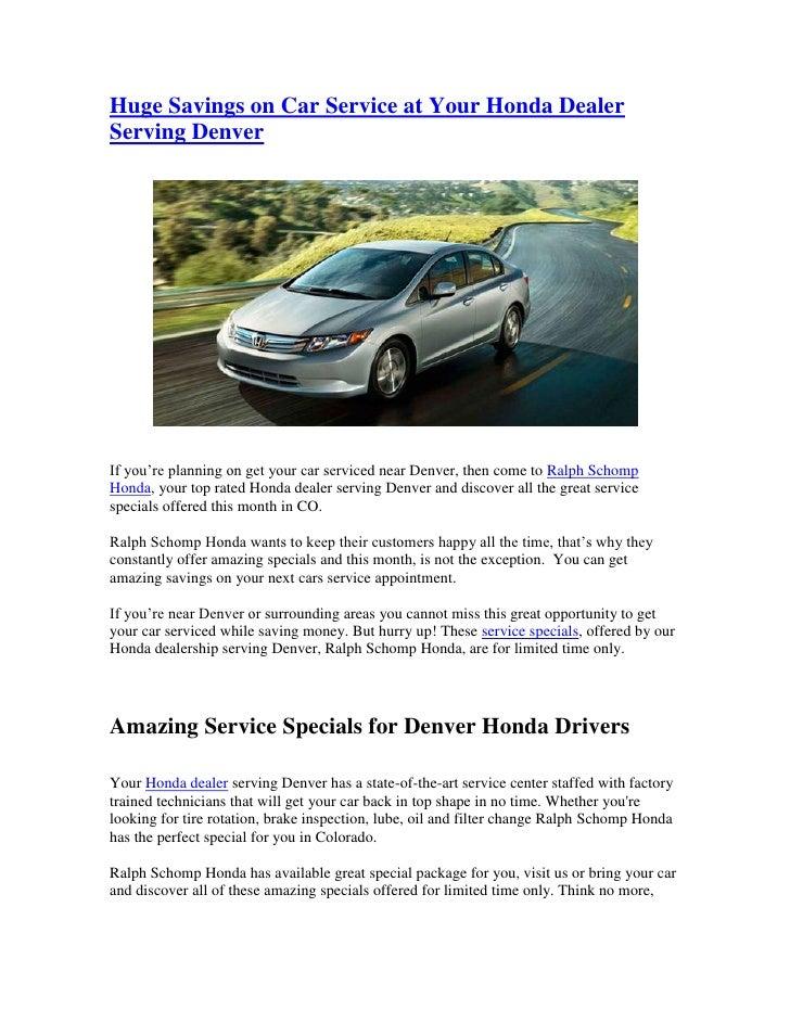Honda Dealership Denver >> Huge Savings On Car Service At Your Honda Dealer Serving