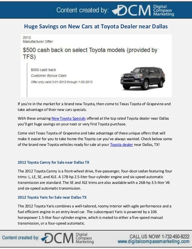 Dallas Toyota Dealers >> Huge Savings On New Cars At Toyota Dealer Near Dallas