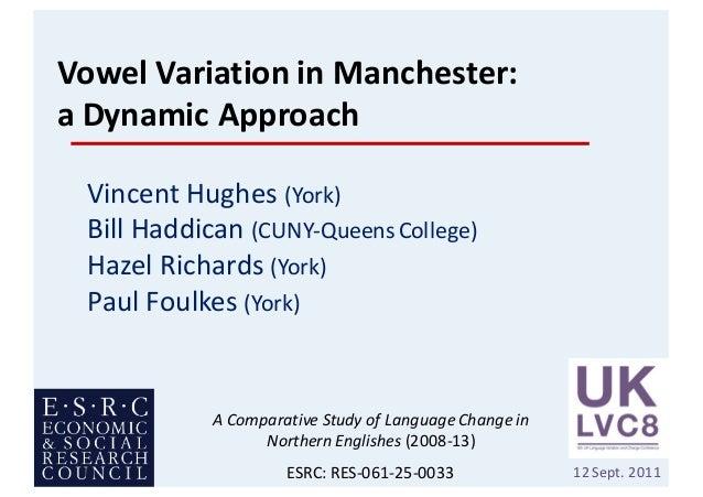 VowelVariationinManchester: aDynamicApproach VincentHughes(York) BillHaddican(CUNY-QueensCollege) HazelRicha...