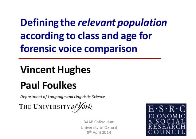 Defining	the	relevant	population according	to	class	and	age	for	 forensic	voice	comparison Vincent Hughes Paul Foulkes Dep...