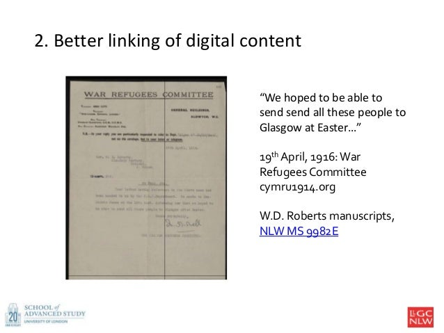 """2. Better linking of digital content """"We hoped to be able to send send all these people to Glasgow at Easter…"""" 19th April,..."""