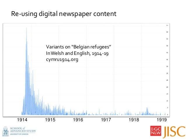 """Variants on """"Belgian refugees"""" InWelsh and English, 1914-19 cymru1914.org 1914 1915 1916 1917 1918 1919 Re-using digital n..."""