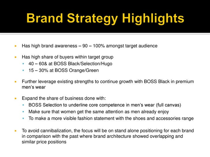 swot anaysis of hugo boss Here's the marketing mix of hugo boss, commonly referred to as boss  swot analysis of brands marketing strategy of brands  hugo – european influence is .