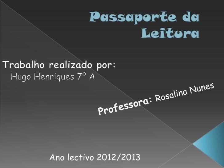 Ano lectivo 2012/2013