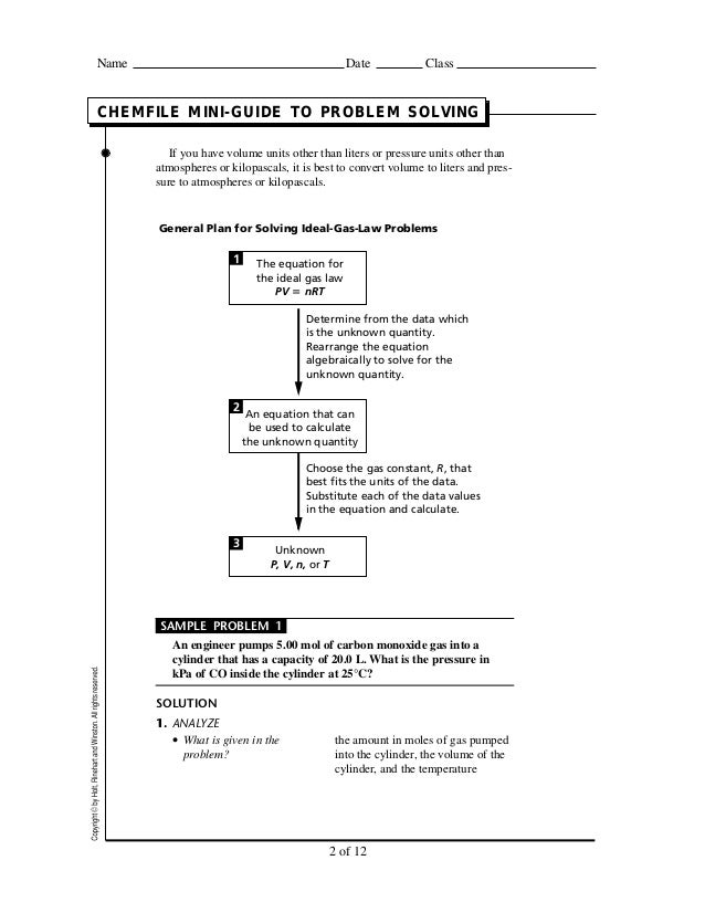 chemfile mini-guide to problem solving ideal gas law answers