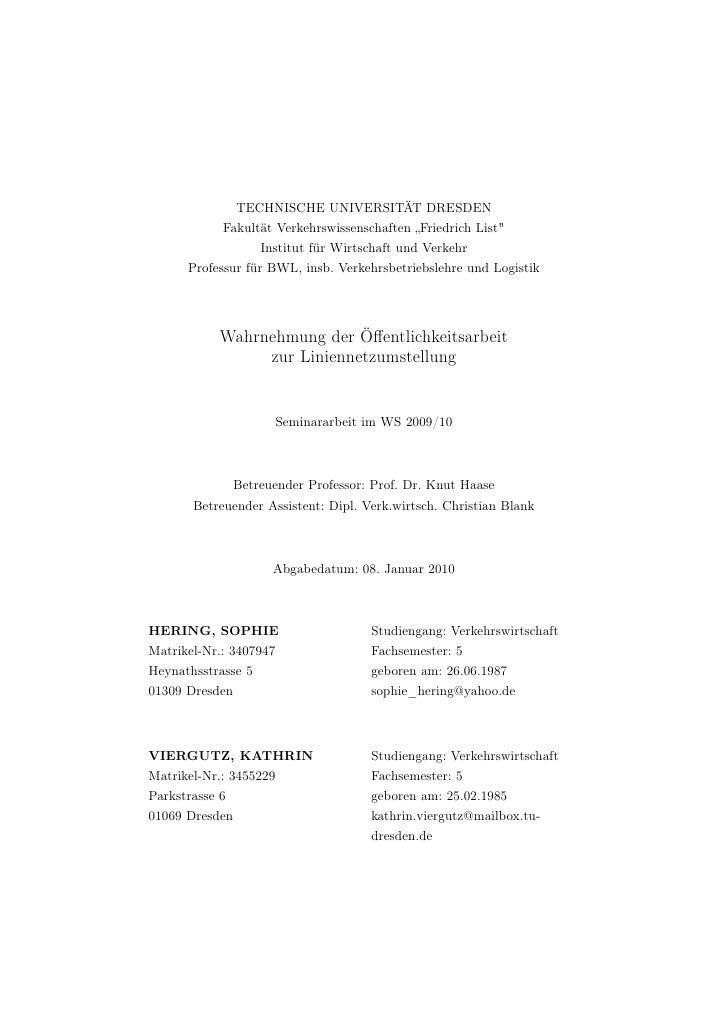 """TECHNISCHE UNIVERSITÄT DRESDEN            Fakultät Verkehrswissenschaften """"Friedrich List""""                    Institut für..."""