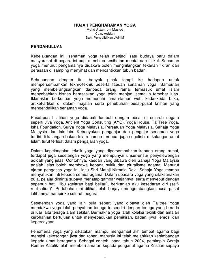 HUJAH PENGHARAMAN YOGA                              Mohd Aizam bin Mas'od                                    Caw. Aqidah  ...
