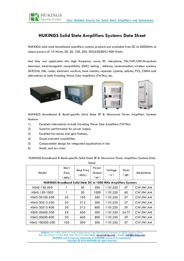 Your Reliable Source for Solid State Amplifiers and Generators Address: No. 1408, North of Tianfu Dadao Road, High-Tech Di...