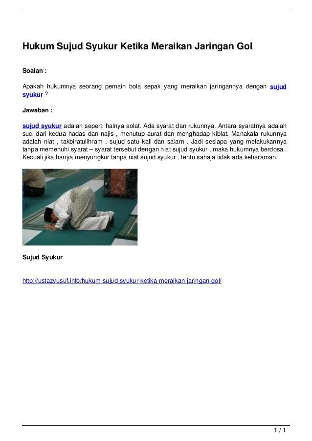Hukum Sujud Syukur Ketika Meraikan Jaringan Gol                                   Soalan :                                ...