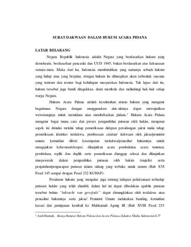 Surat Dakwaan Dalam Hukum Acara Pidana