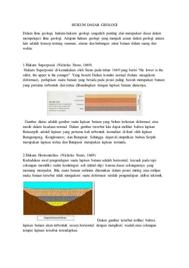 HUKUM DASAR GEOLOGI  Dalam ilmu geologi, hukum-hukum geologi sangatlah penting dan merupakan dasar dalam  mempelajari ilmu...