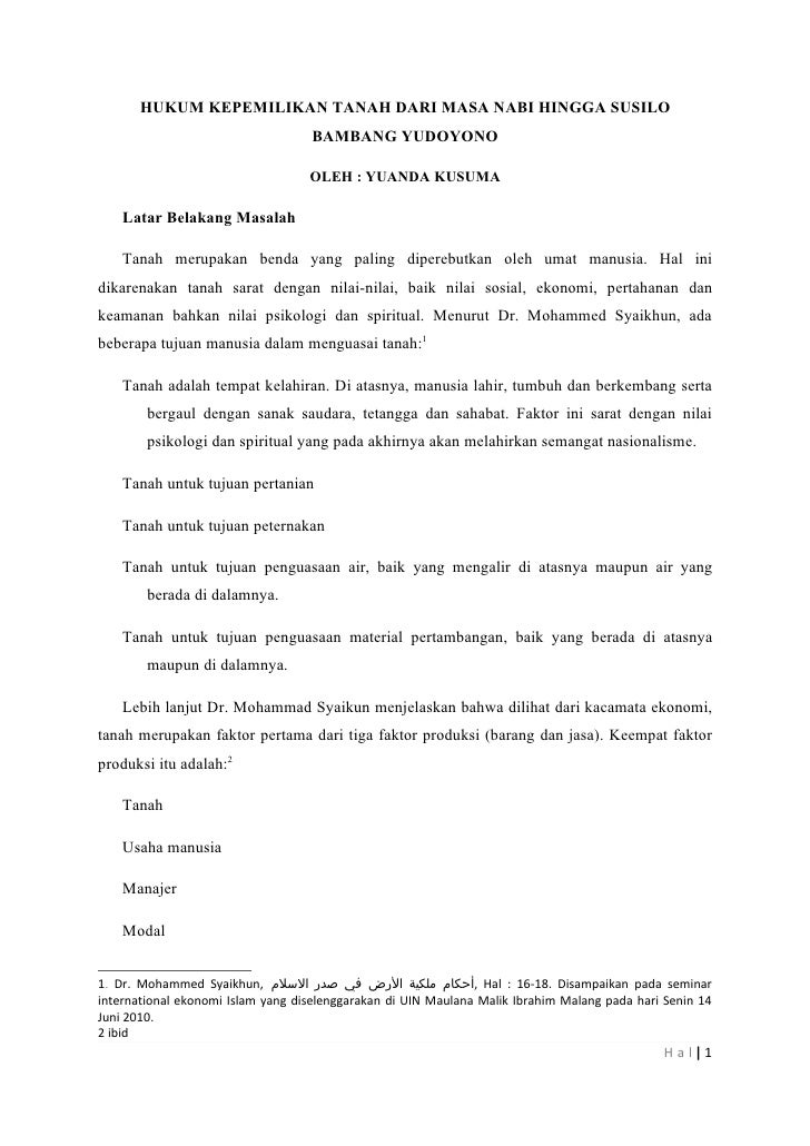 HUKUM KEPEMILIKAN TANAH DARI MASA NABI HINGGA SUSILO                                   BAMBANG YUDOYONO                   ...