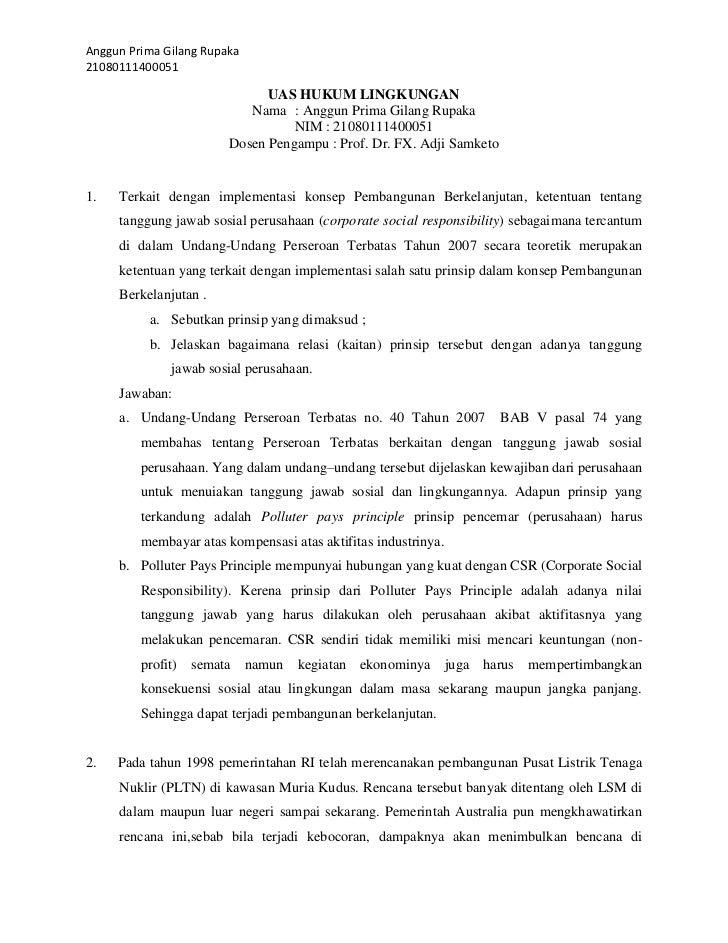 Anggun Prima Gilang Rupaka21080111400051                              UAS HUKUM LINGKUNGAN                           Nama ...
